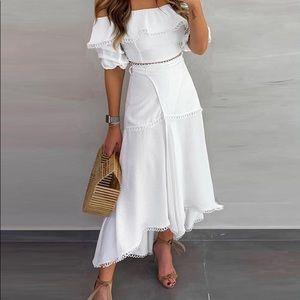 Dresses & Skirts - Off Shoulder Ruffle Tops Split Skirt Sets